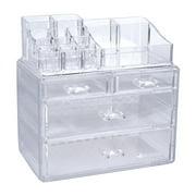 Lovebay 14 Slot&4 Drawer Set Acrylic Organizer Jewelry Cosmetic Makeup Storage Display Case Holder Box