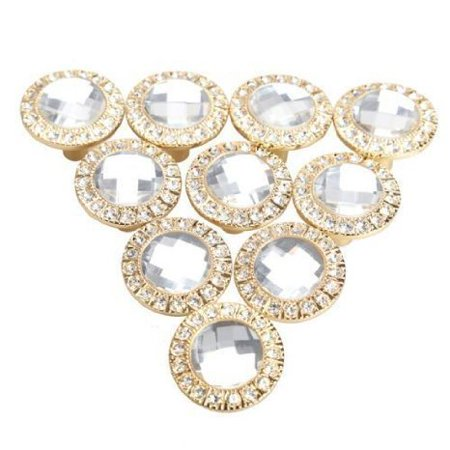 HOSL Round Pull Handle Glittering Rhinestone Knob for Cupboard Drawer Color Gold(Pack of 10)
