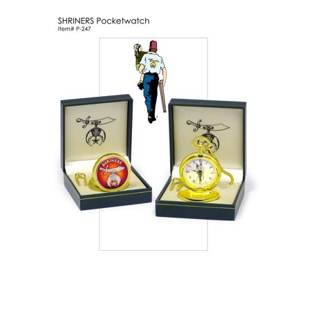 Shriners Logo Pocket Watch - Goldtone Quartz Timepiece Is The Perfect -