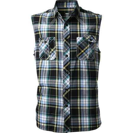 Men's Casual Button Down Sleeveless Plaid Shirts