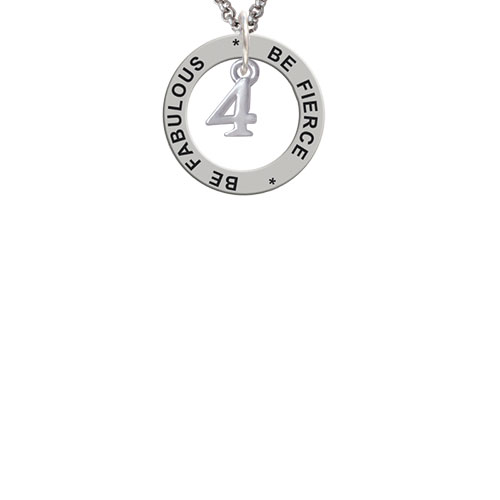 Small Number - 4 - Be Fierce Be Fabulous Affirmation Ring Necklace