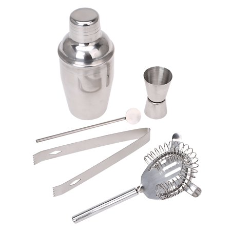 Set of 5 PCS Stainless Steel Cocktail Shaker Mixer Drink Bartender Martini Tools Bar Set Kit (Deluxe Martini Shaker)
