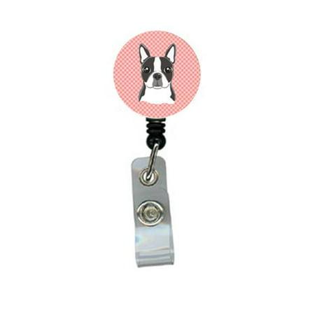 Pink Badge (Checkerboard Pink Boston Terrier Retractable Badge)