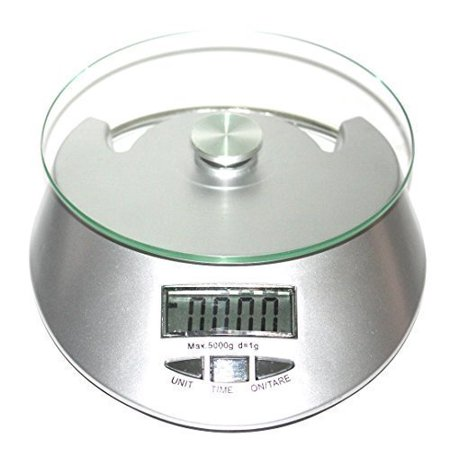 Multifunction LCD Display and Tempered Glass Surface Digital Food Scale with 2 AA Battery By Tevelo (Glass Kitchenware)