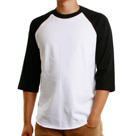 Men's Raglan 3/4 Sleeves Baseball T-Shirt Casual Cotton Jersey S-3XL