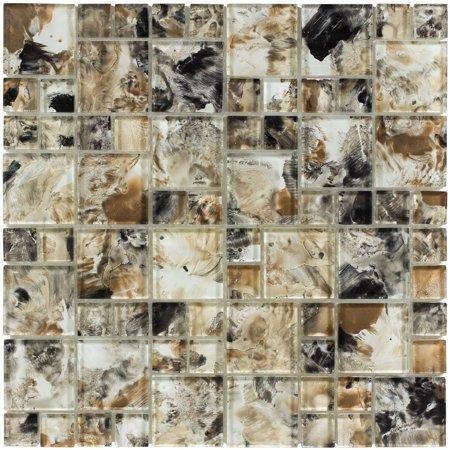 MTO0111 Modern Modular Black Brown Glossy Translucent Glass Mosaic Tile (Translucent Glass Tile)