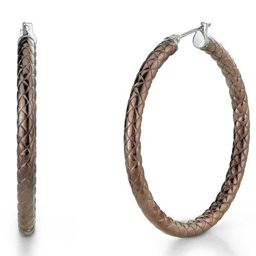 Oravo Metallic Brown Color 40mm Diameter Crisscross Pattern Hoop Earrings in Stainless Steel