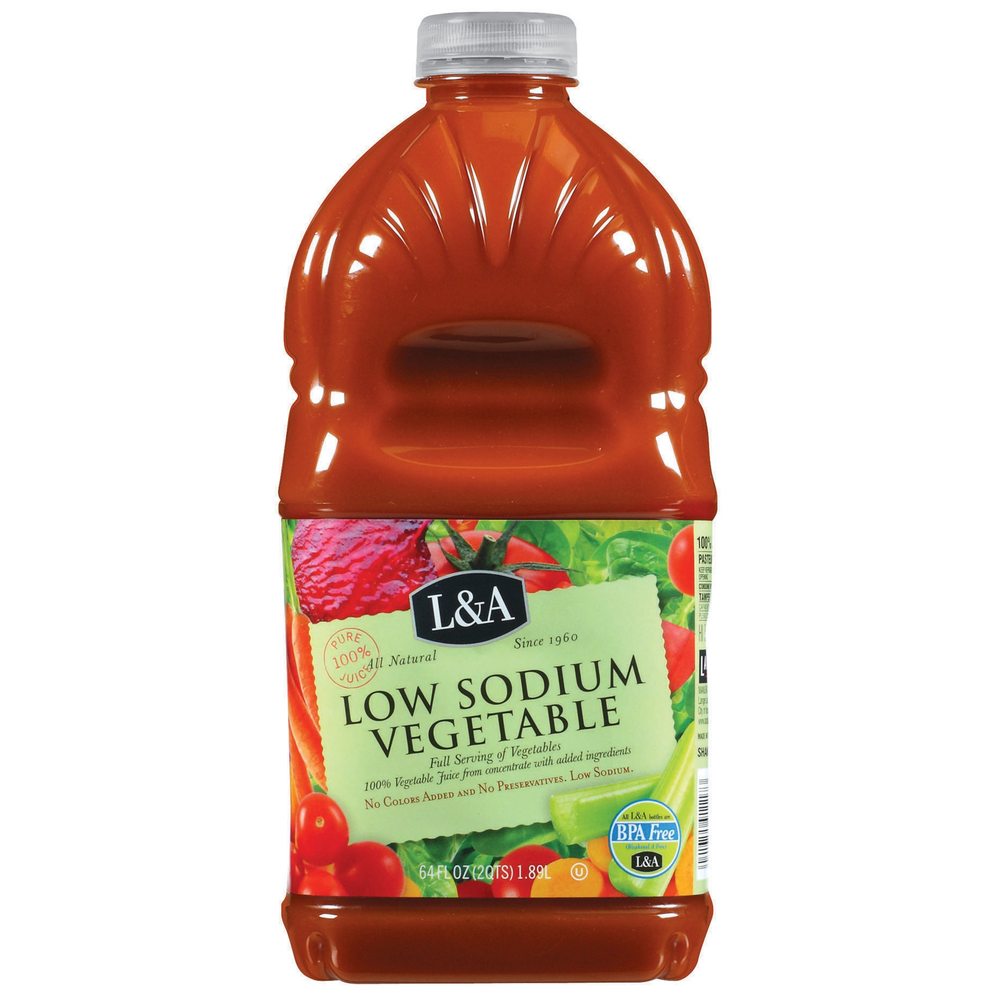 (8 Pack) L&A 100% Juice, Low Sodium Vegetable, 64 Fl Oz, 1 Count