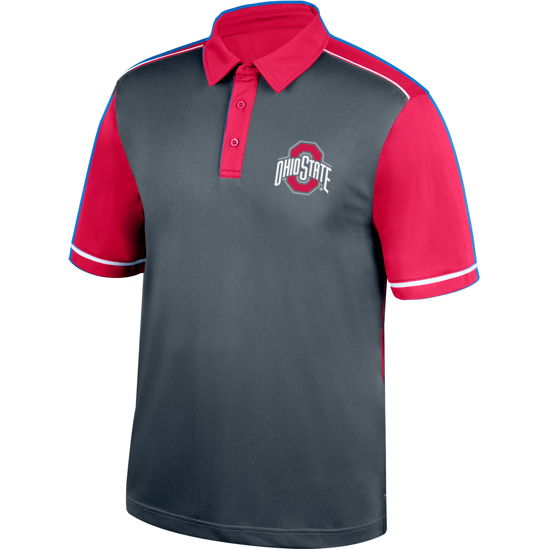 Men's Charcoal/Scarlet Ohio State Buckeyes Match Play Color Block Polo