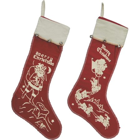 - Merry Christmas Vintage Style Large Felt Stockings with Bell Set of 2, Primitives by Kathy By Primitives By Kathy