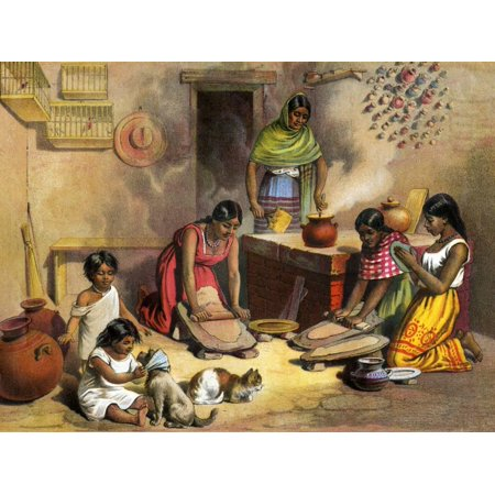 Mexican Women Making Tortillas, 1800s Hispanic Mexican Culture Cooking Food Print Wall Art