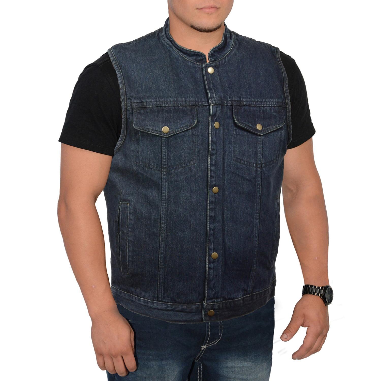 SHAF INTERNATIONAL Men's Snap Front Denim Club Vest