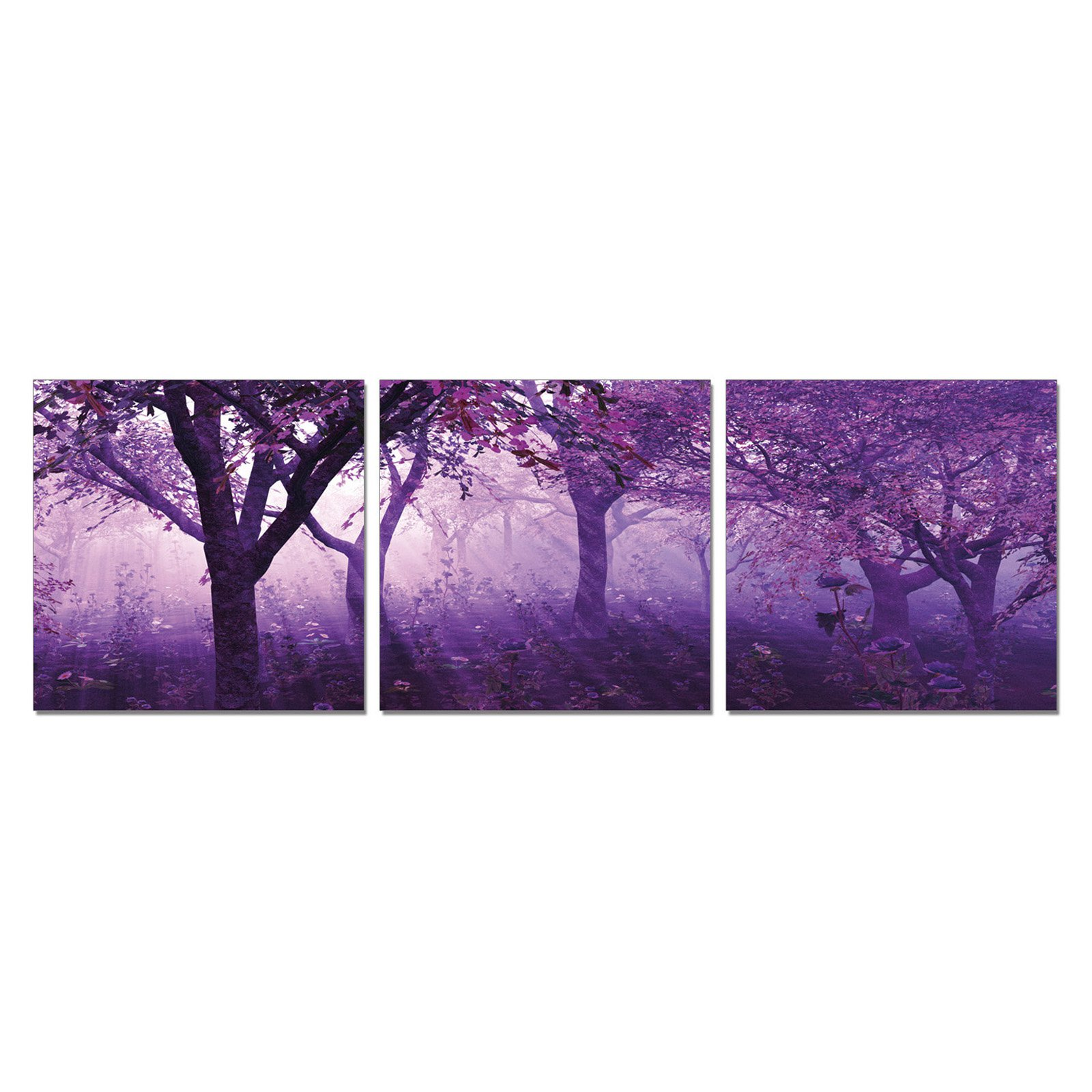 Furinno SENIC Purple Trees 3-Panel Canvas on Wood Frame, 60 x 20-in