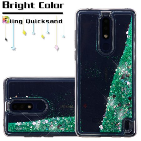 Nokia 3.1 Plus Phone Case BLING Hybrid Liquid Glitter Quicksand Sparkling Rubber Silicone Gel TPU Protective Hard Waterfall Cover GREEN Hearts Phone Case Cover for Nokia 3.1 -