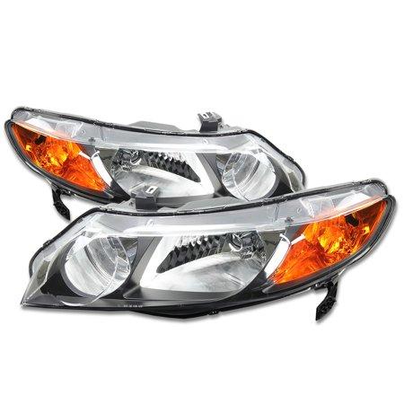 For 2006 to 2011 Honda Civic 4-Dr Sedan Pair Black Housing Amber Corner Headlight Headlamps 07 08 09 10 Left + Right Honda Civic Sedan Headlamp Headlight
