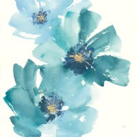 Teal Cosmos IV Blue Flower Abstract Floral Art Print Wall Art By Chris Paschke