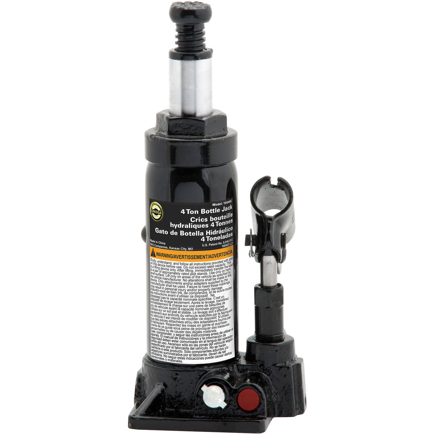 Omega 10045B Black Hydraulic Bottle Jack, 4 Ton Capacity