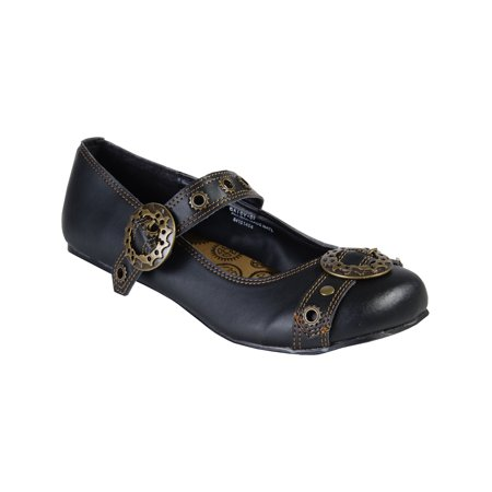 black mary jane ballet flats steampunk gothic style buckles