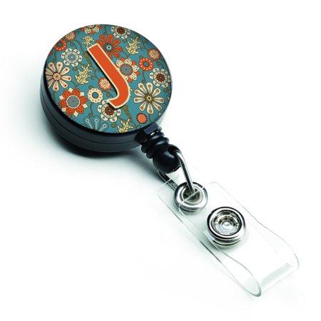 Letter J Flowers Retro Blue Retractable Badge Reel CJ2012-JBR