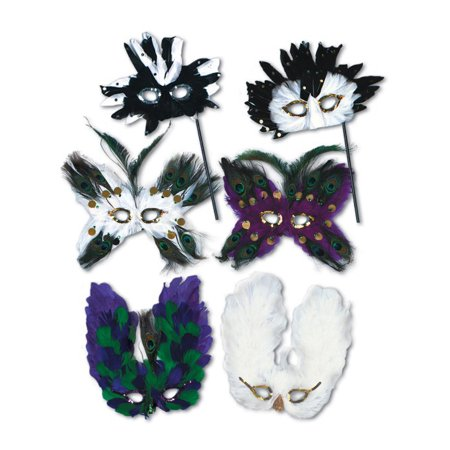 Ultima Assorted Venetian Masquerade Ball Carnival Feather Mask Costume Accessory