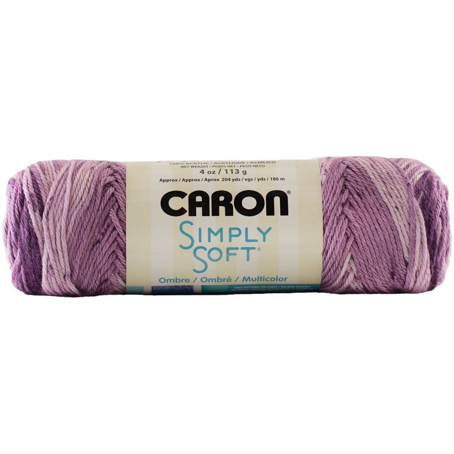 Caron Simply Soft Ombre Yarn, 113 grams, Grape Purple