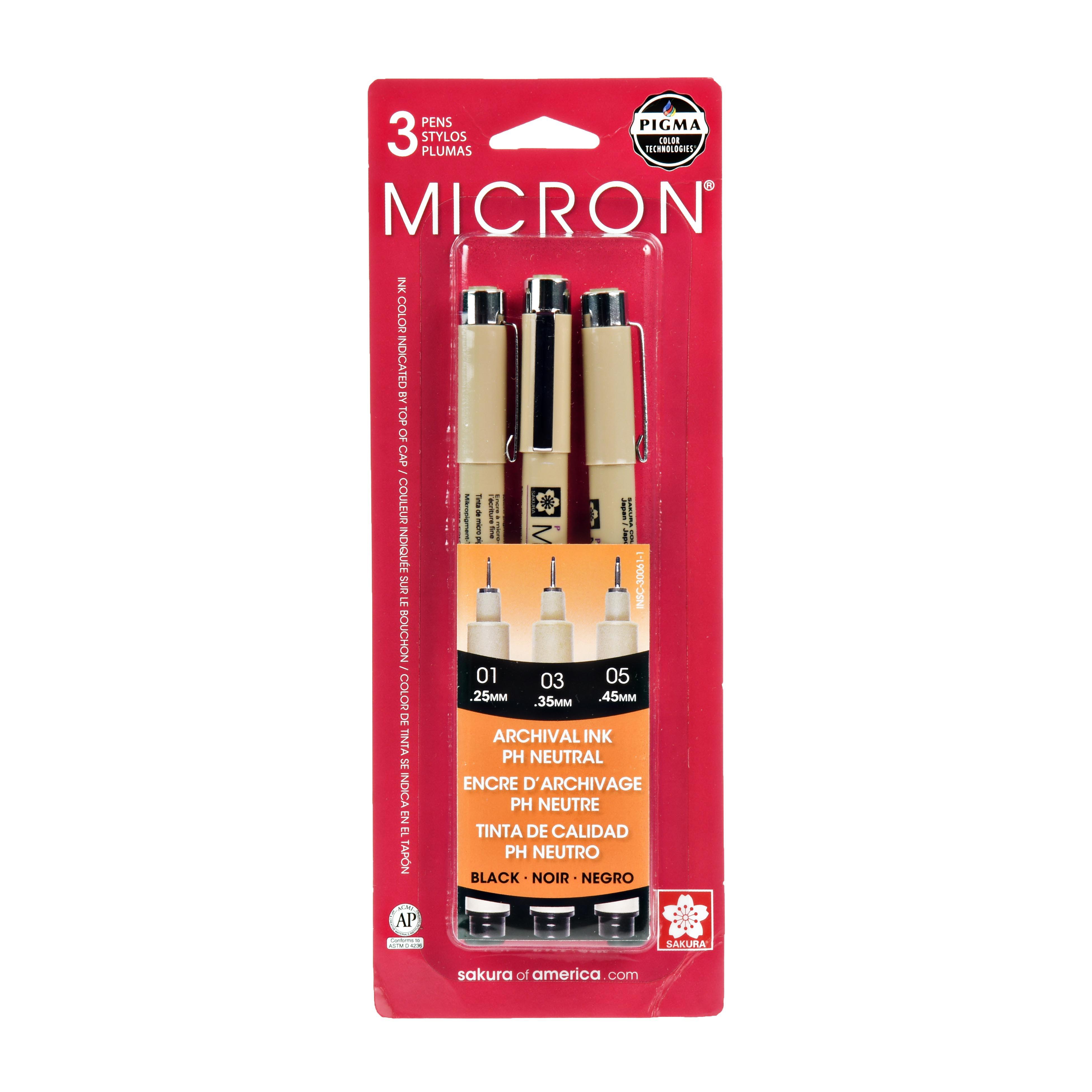 Pack of 3 Brown Sakura Pigma Micron 0.1mm Pigment Fineliners