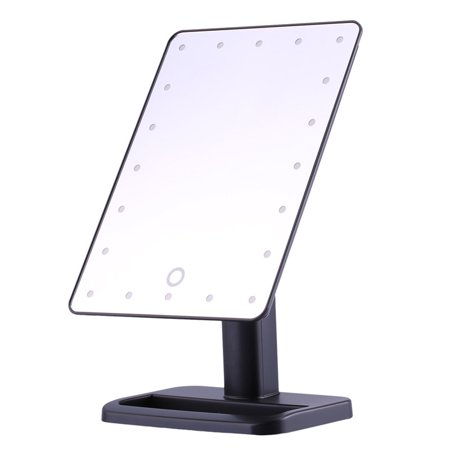 Makeup Mirror 20 LED Lighted Touch Screen Illuminated Makeup Stand Mirror Tabletop Lighted Cosmetic Vanity