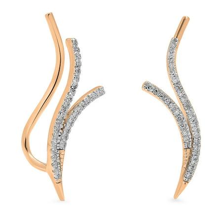 0.20 Carat (ctw) 14K Rose Gold Round Cut White Diamond Ladies Double Row Crawler Climber Earrings 1/5 CT ()
