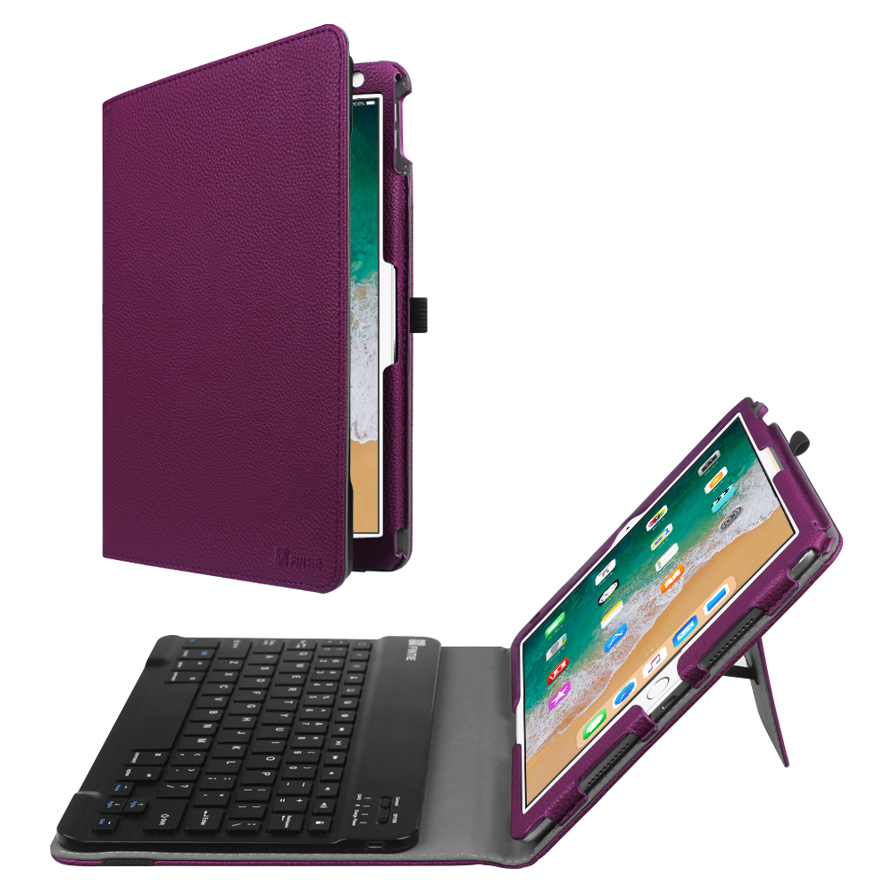 Fintie iPad Pro 10.5 Case with Keyboard - PU Leather Stand Cover with Removable Bluetooth Keyboard, Purple