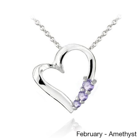 Multi Gemstone Heart Necklace - Glitzy Rocks  Sterling Silver Gemstone Heart Necklace February Amethyst Purple