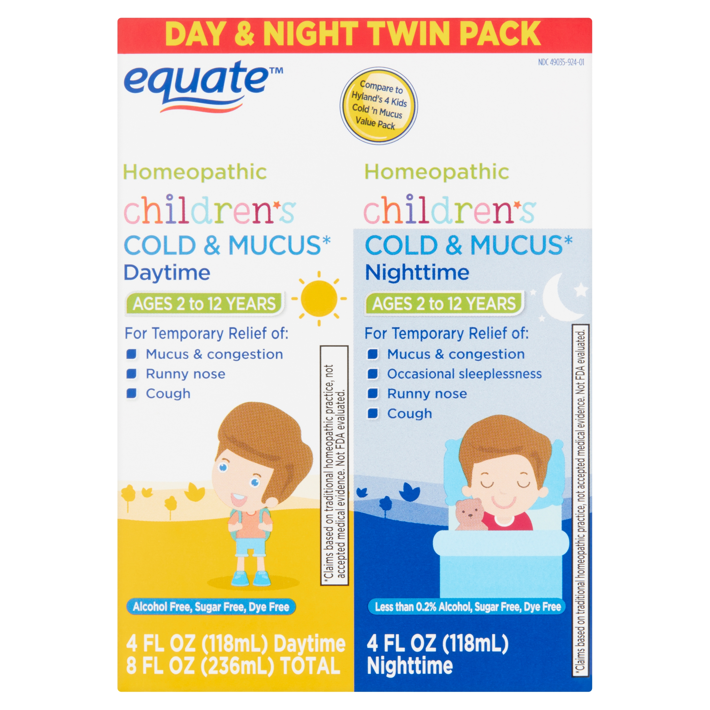 Equate Children's Homeopathic Daytime & Nighttime Cold & Mucus Liquid Twin Pack, 4 fl oz, 2 Pack