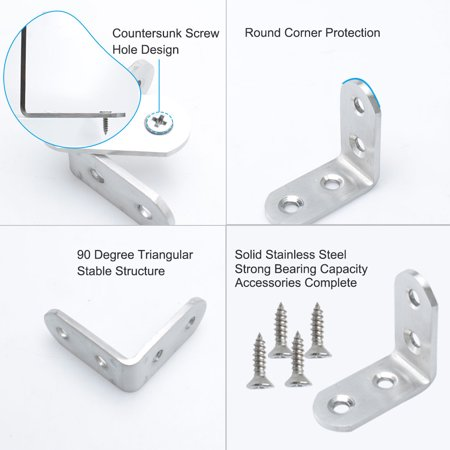 Angle Bracket 304 Stainless Steel Brace Fastener Support w Screw 40 x 40mm, 4pcs - image 3 of 7