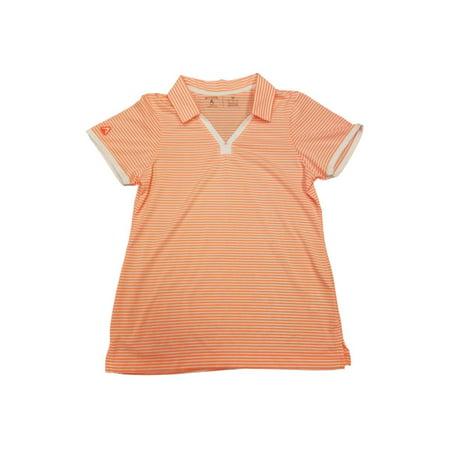 - Antigua Desert Dry PRF 72 WOMENS Neon Coral White Stripe Golf Polo T-Shirt (M)