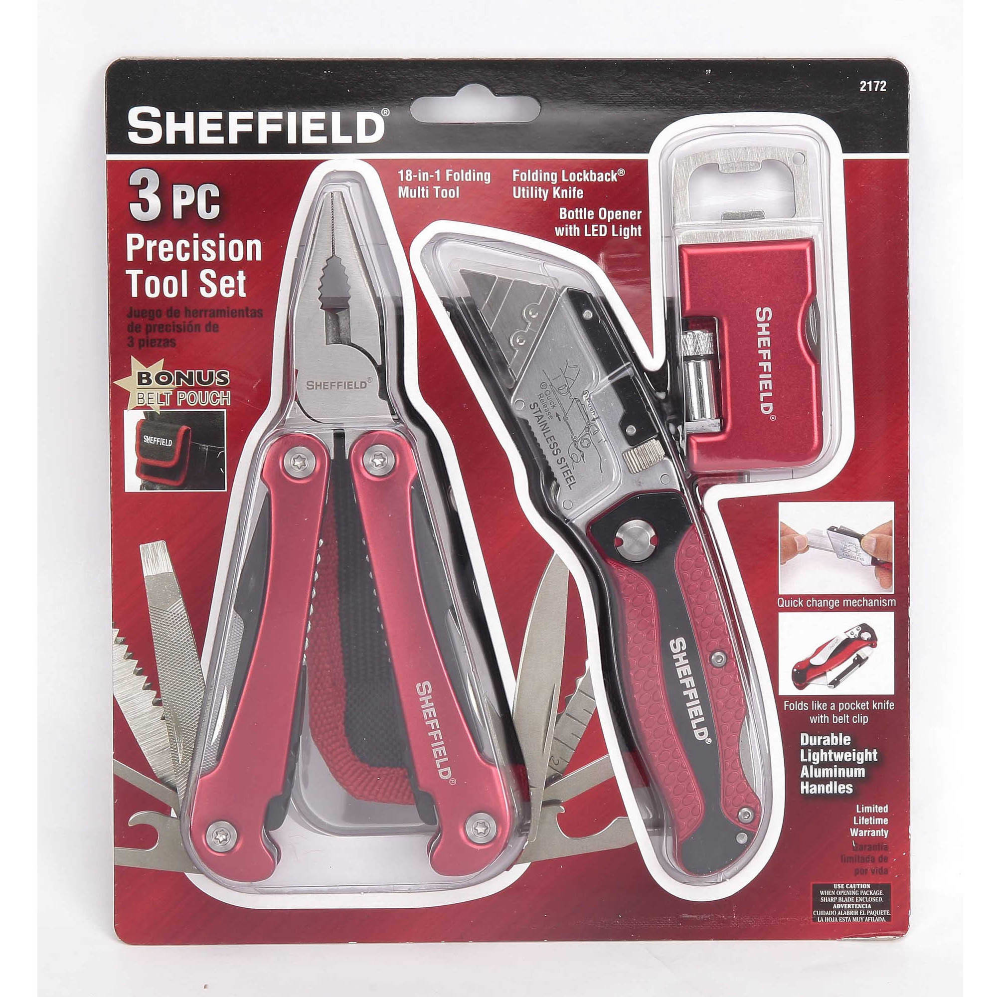 Sheffield 3-Piece Precision Tool Set with Bottle Opener