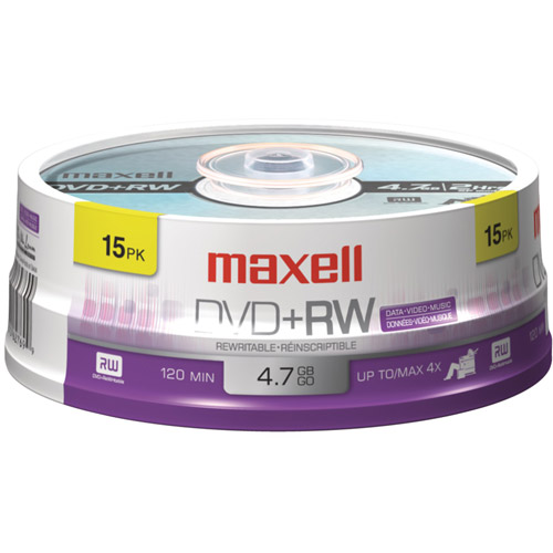 Maxell DVD+RW Spindle, 15-Pack