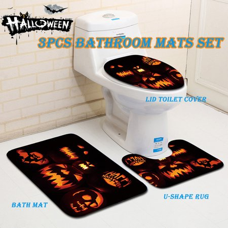 3pcs/Set Bath Mats Halloween Pumpkin Pattern Anti Slip Toilet Cover Washable Bathroom Floor Square Pad U Shape Mat - Walmart.com