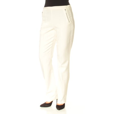 White Womens Pants - INC Womens White Curvy Fit Straight leg Wear To Work Pants  Size: 6