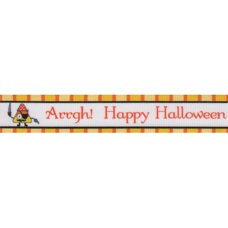 Country Brook Design | 7/8 Inch Pirate Halloween Grosgrain Ribbon Closeout,  5 Yards - Halloween Closeout