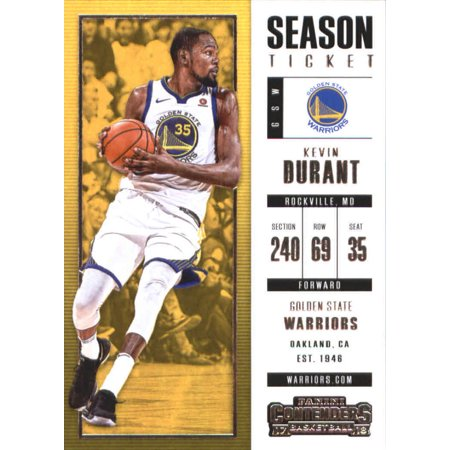 2017-18 Panini Contenders Season Ticket #18 Kevin Durant Golden State Warriors Basketball Card