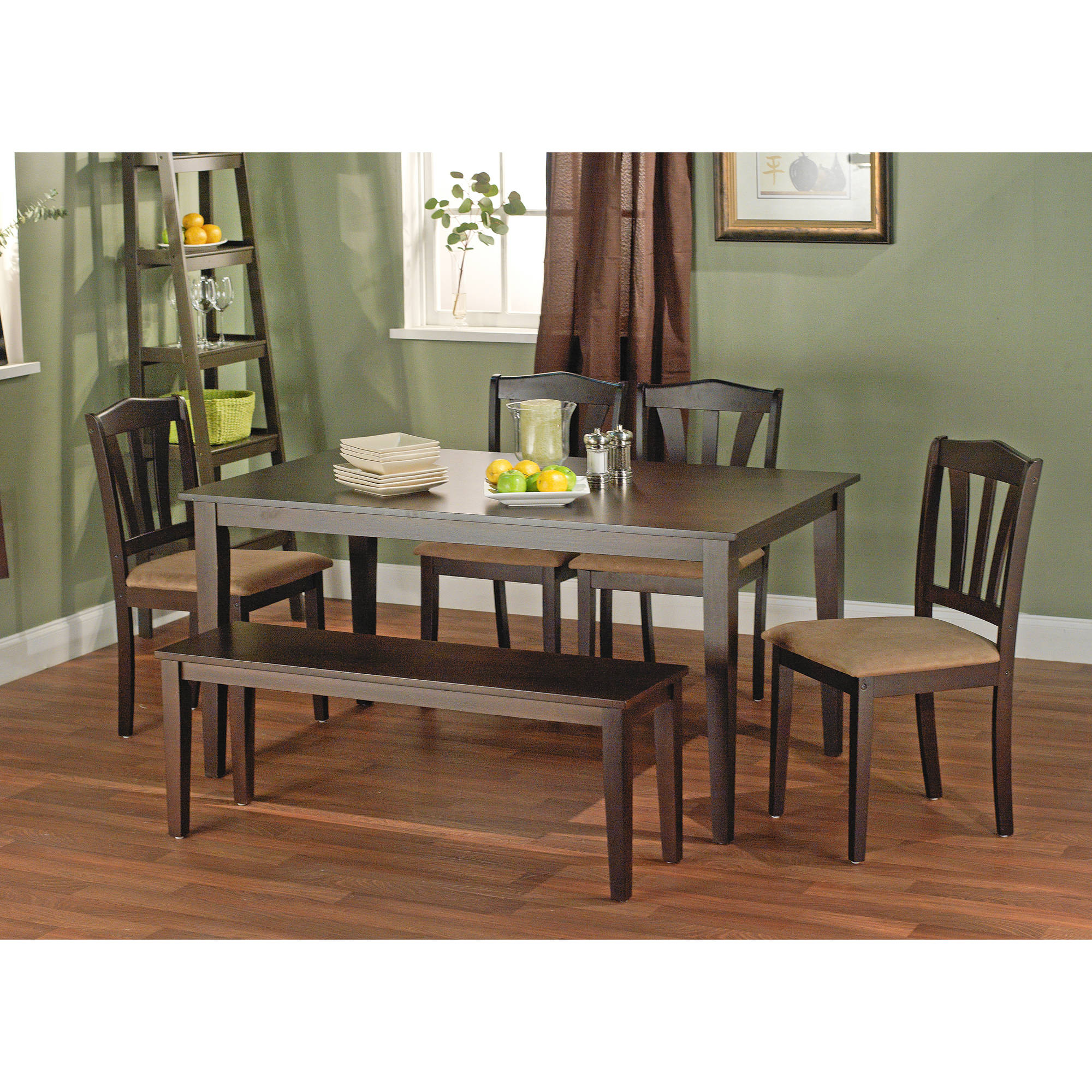 Metropolitan 6 Piece Dining Set with Bench Espresso Box 2 of 2