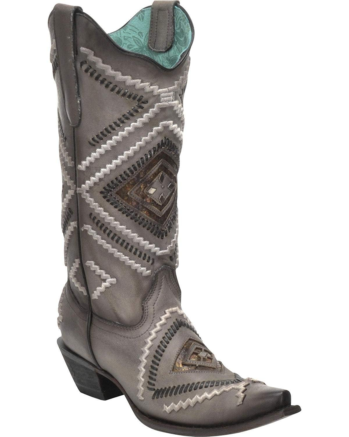 CORRAL Women's Woven Diamond Black Inlay Boot Snip Toe Black Diamond 10 M f8d0c5