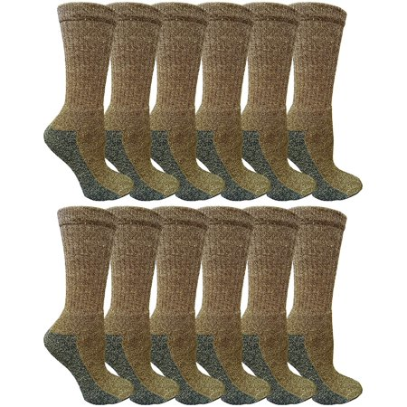 SOCKS'NBULK 12 Pairs of Mens & Women Crew Socks, Quality Ring spun Cotton Soft Athletic Socks (Brown/Gray, 10-13)