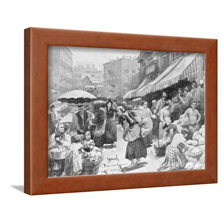 Crowded Street in New York Italian Neighborhood Framed Print Wall Art