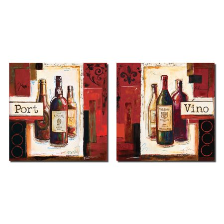 Evening Spirits I Lovely Retro Port and Vino Wine Signs; Two 12x12 Poster Prints