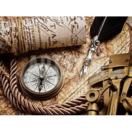 Vintage Still Life with Compass,Sextant and Old Map.Map Used for Background is in Public Domain. Ma Print Wall Art By scorpp