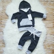 Newborn Kids Baby Boys Hooded Tops Long Pants Leggings Outfits Set Clothes