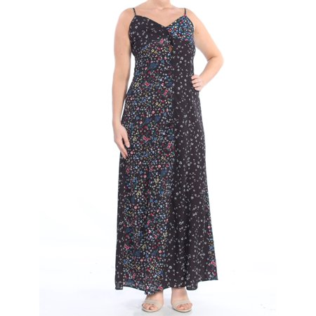 FRENCH CONNECTION Womens Black Floral Button Front Spaghetti Strap V Neck Full-Length Shift Dress  Size: 6
