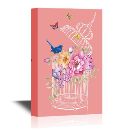 wall26 Canvas Wall Art - Bird and Bird Cage with Flowers and Butterflies - Gallery Wrap Modern Home Decor | Ready to Hang - 16x24 inches
