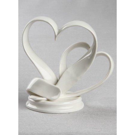 Ivy Lane Design Porcelain Double Hearts Cake Top Double Heart Wedding Cake Top