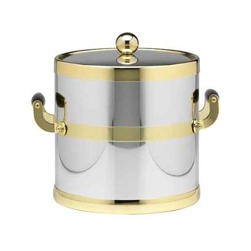 Americano 3-qt. Ice Bucket in Shiny Chrome and Brass w Bands